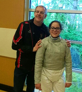 Saber coach Mark Lundborg and WFA competitor Carolina Nobrega