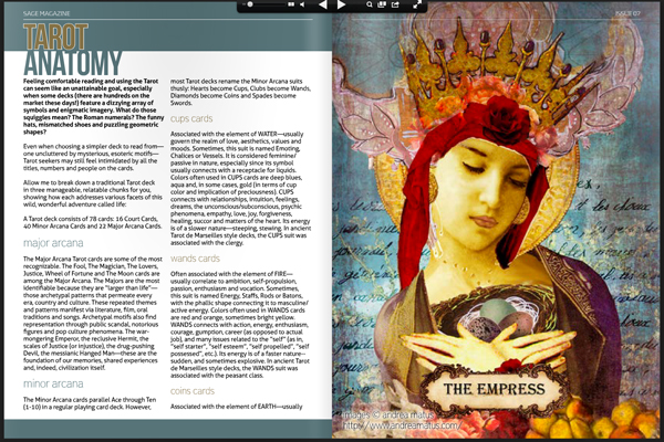 Artwork Featured in Issue 07 of Sage Magazine with a great explanation of Tarot Cards.