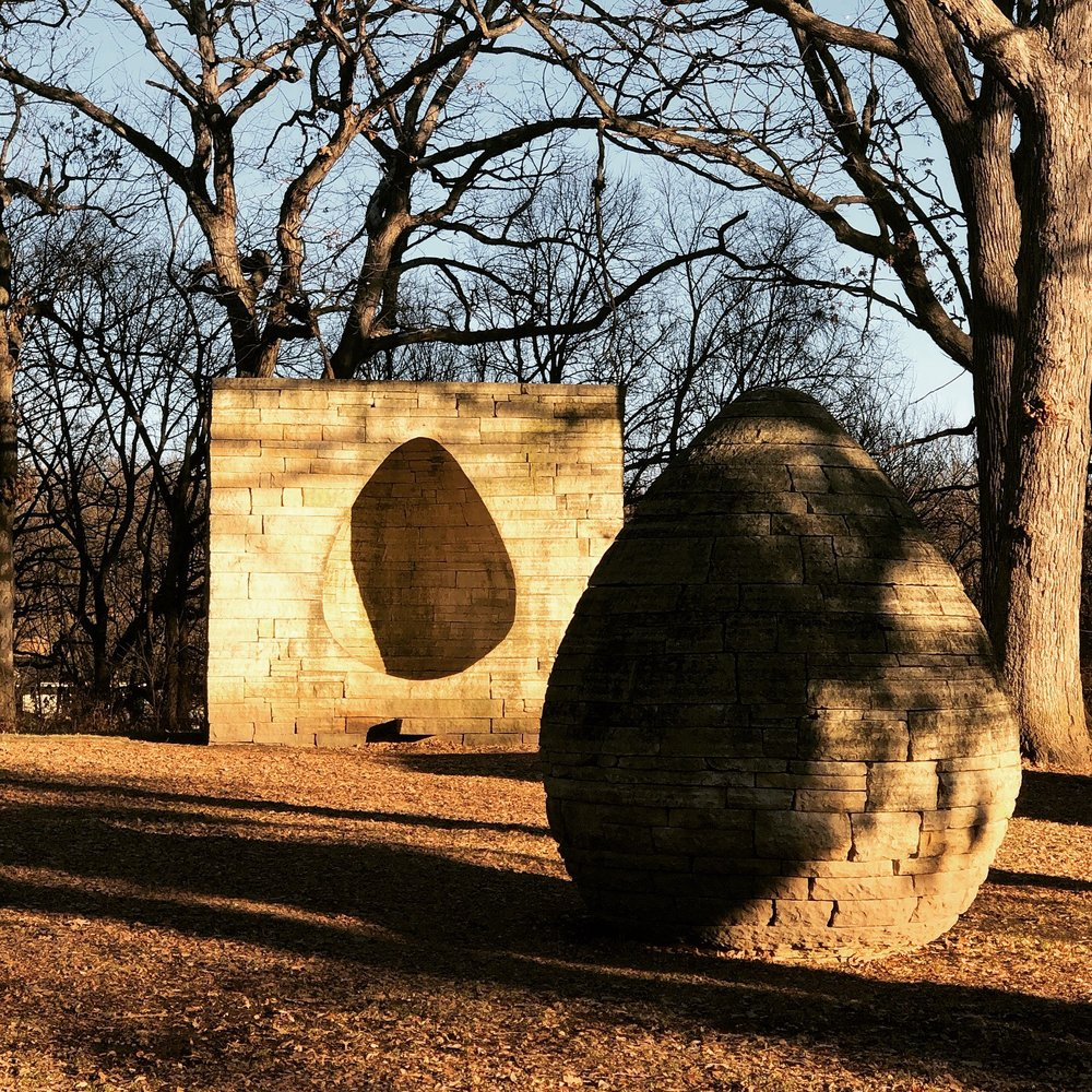 Egg-shaped art sculpture