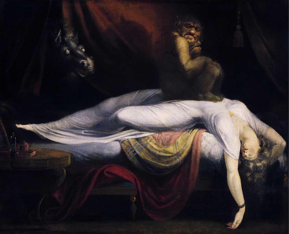 The Nightmare by Henry Fuseli depicts a woman experiencing sleep paralysis with a nightmarish hallucination.