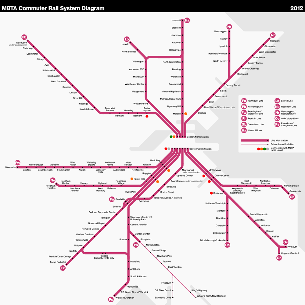 The Commuter Rail system in the Greater Boston area.  Source: https://en.wikipedia.org/wiki/MBTA_Commuter_Rail