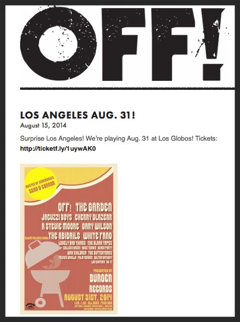 OFF! is now a part of the Burger Records fest on August 31!