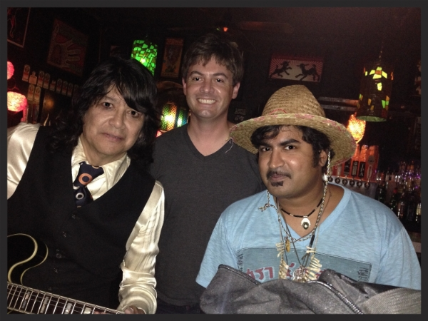 Javier Escovedo, Anders Larsson, and King Khan pre-show at the Casbah in 2014
