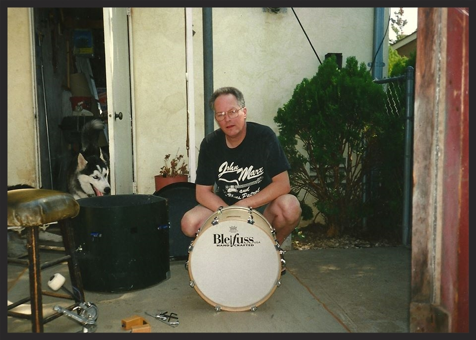 In addition to my full kit, I have a 16 inch bass drum that I use on jazz gigs. I took this picture of Paul with this wonderful little drum on the day I took it home.