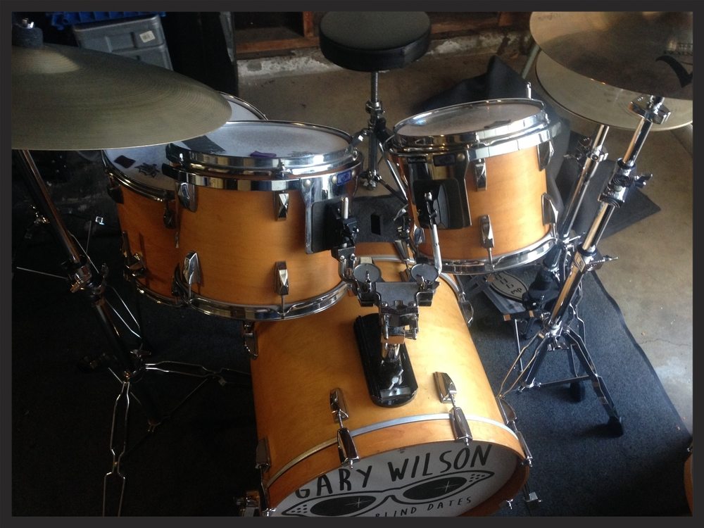 My full drum kit, seen here with a Gary Wilson drum logo designed by Tim Lowman. It's always a treat to bring this drum kit on the gigs dearest to my heart, like Gary's.