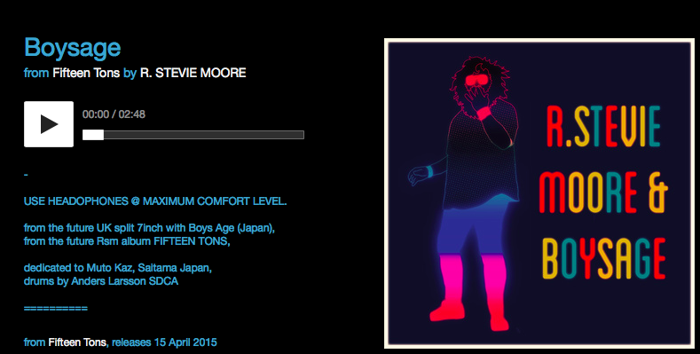"Screenshot of online lyrics and credits to ""Boysage"" from the upcoming R. Stevie Moore release ""Fifteen Tons"""