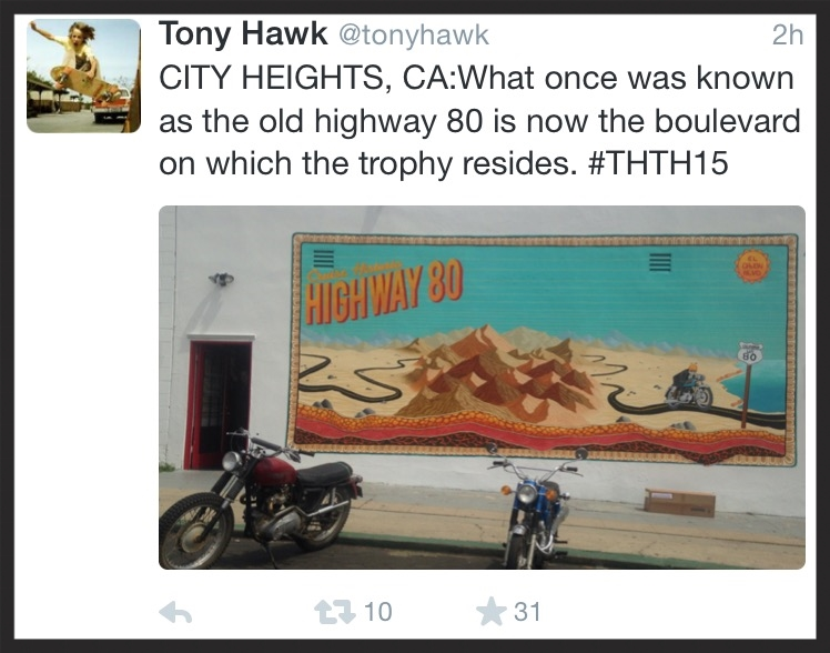 The clue for the location of the Tony Hawk Twitter Hunt, where a lucky winner found one of the much sought-after boxes outside Trophy Motorcycles in City Heights