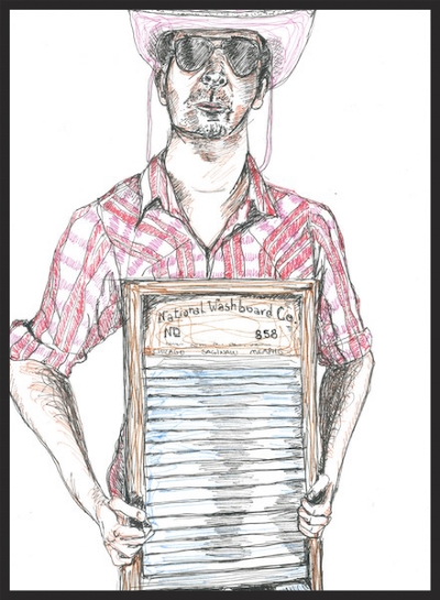 Portrait of Anders Larsson and Washboard by Laurie Nasica