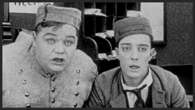 Fatty Arbuckle with friend and collaborator, Buster Keaton