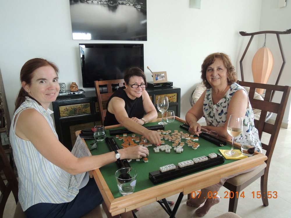 Etta, Janine, and Judith, yesterday afternoon.  The winning hand, displayed, is mine.