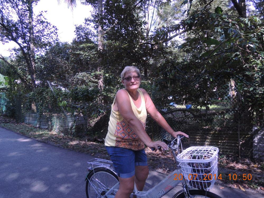 Resi's comfortable on her bike.