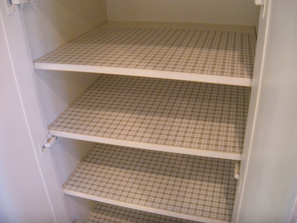 Shelf paper makes the shelves look clean and ready to receive stuff.