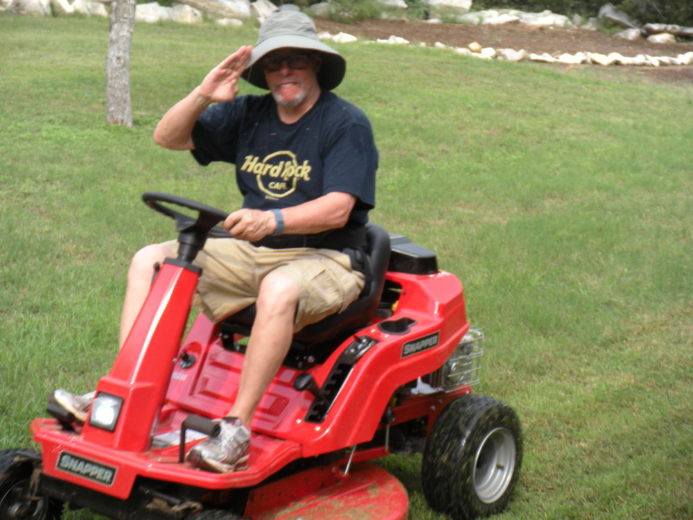 And just for fun, here's David on his new lawnmower.