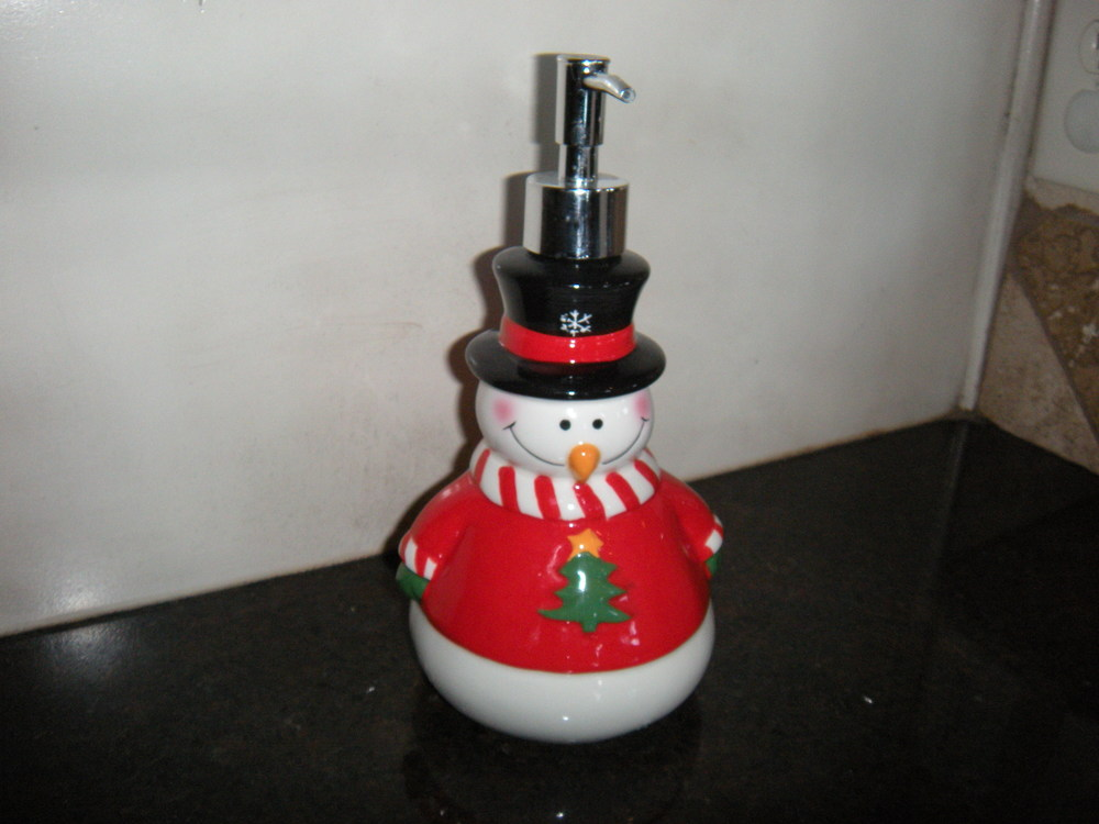 I even have a Christmas soap dispenser, which Curtis gave me for my birthday.