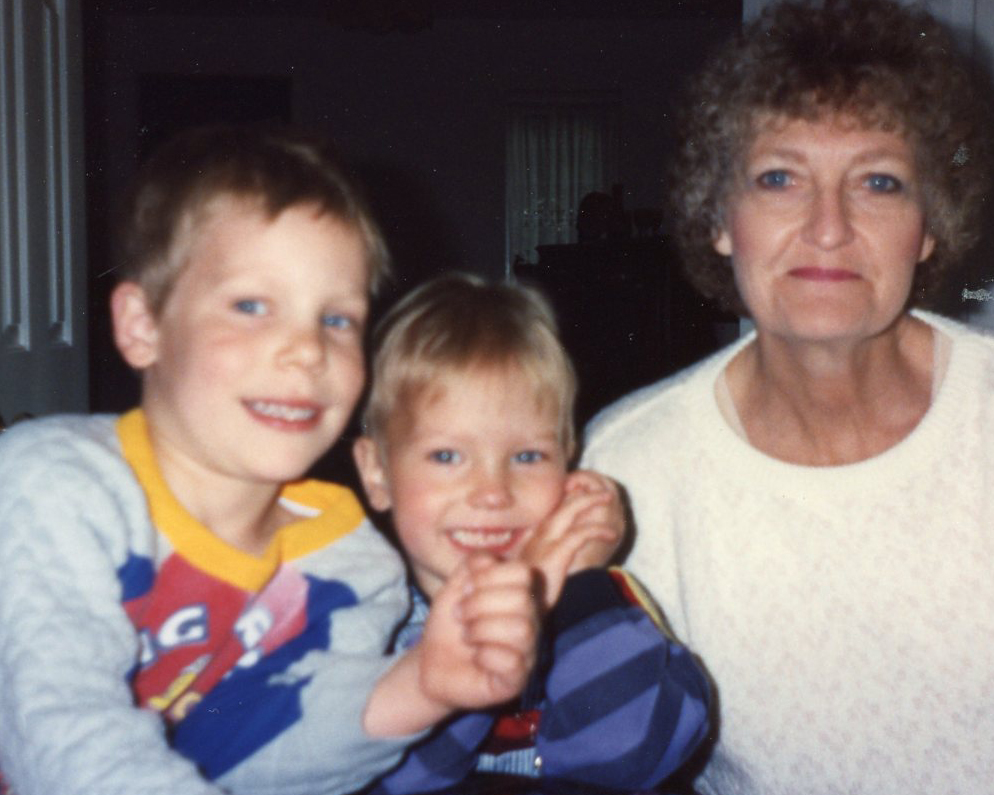 Momma, happy with Curtis and Sam. This was taken when she visited us in Beaconsfield, about an hour west of London.