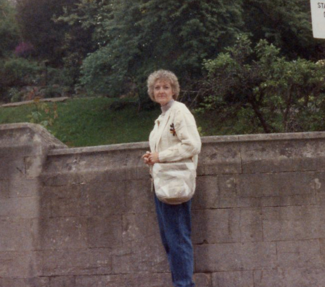 Outside a garden in Edinburgh. I have no pictures of her during her younger years--those are in albums at Trina's.