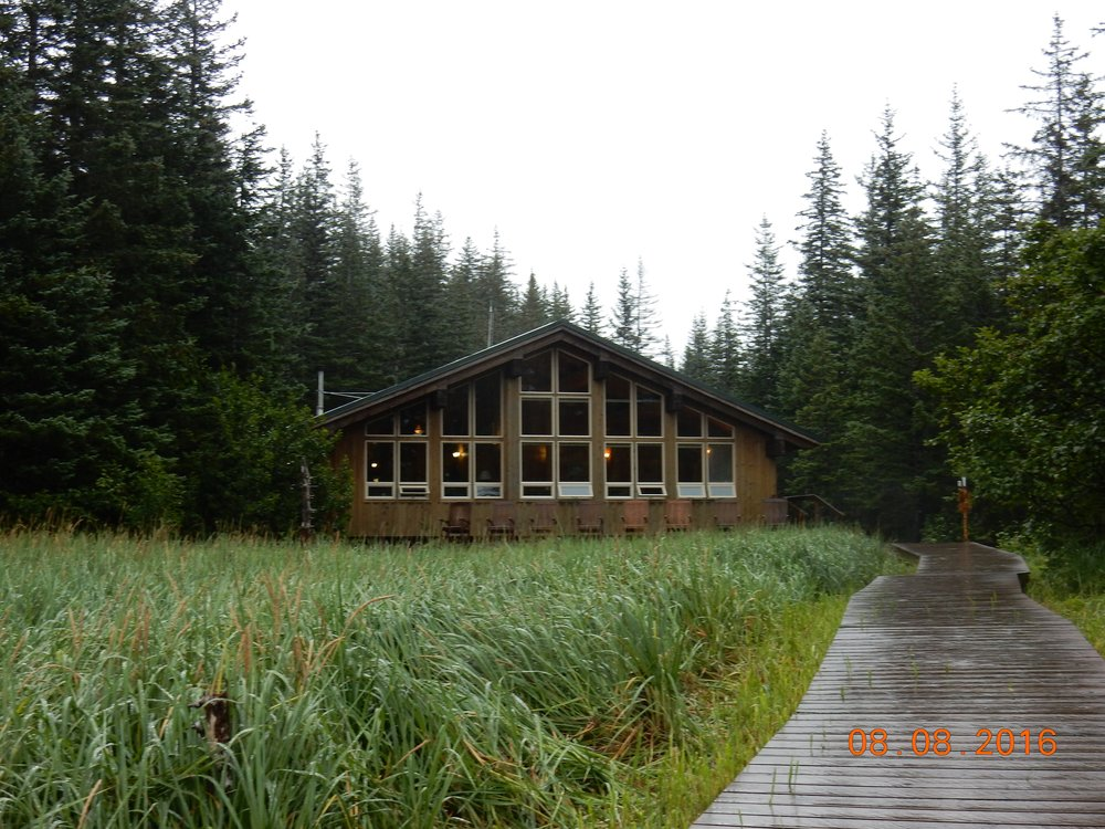 View of the lodge from the end of the dock.