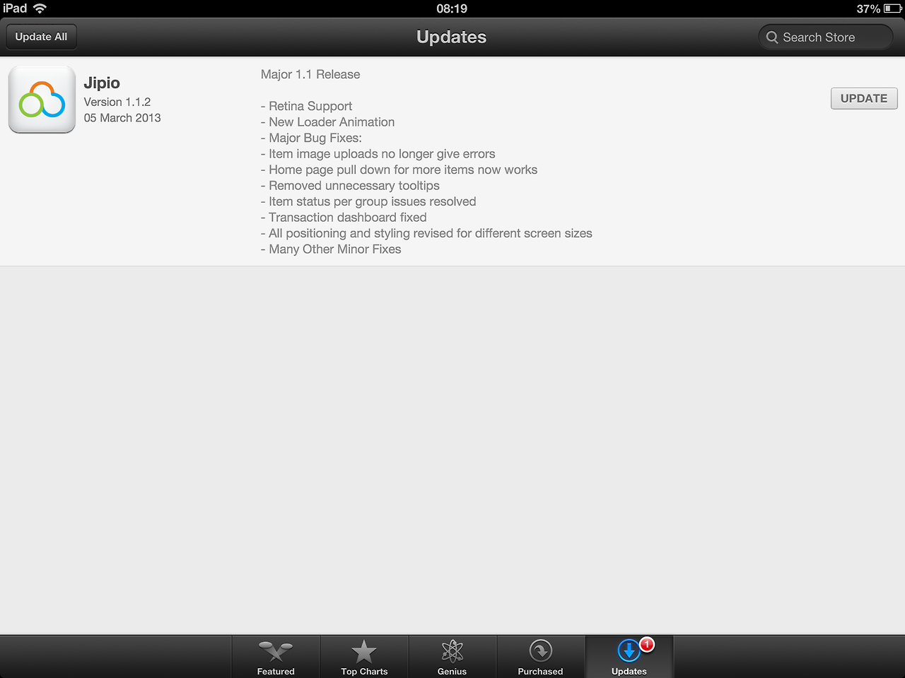 Version 1.1.2 is available in the appstore.