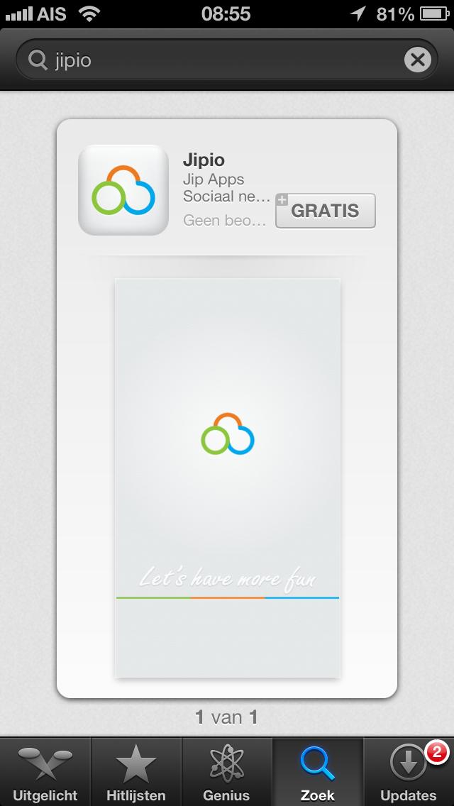 Jipio app in the iTunes store.
