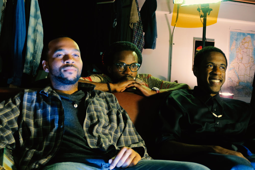 Actors: Terrance Smith (left), Kristopher Scott (right), and Director: Benjamin Michel (center) on set. Photo by Wardell McNeal