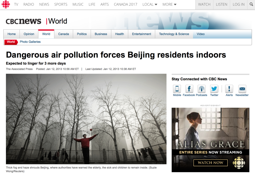 Dangerous air pollution forces Beijing residents indoors - Name used during employment: Suzie Wong