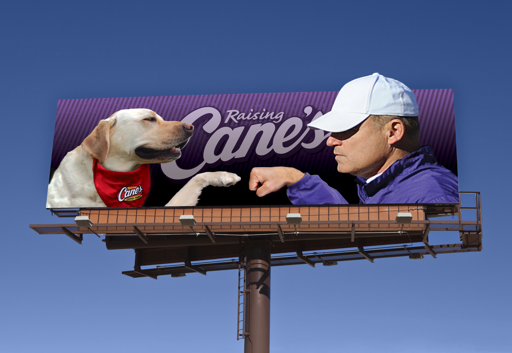 "Raising Cane's Chicken Fingers ""Fistbump"" Billboard   created   for Diane Allen and Associates"