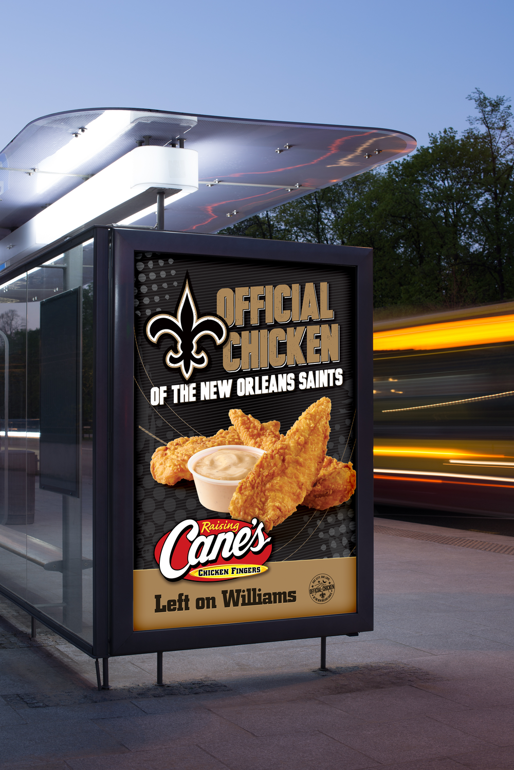Raising Cane's Chicken Fingers Bus Shelter Graphics   created   for Diane Allen and Associates .