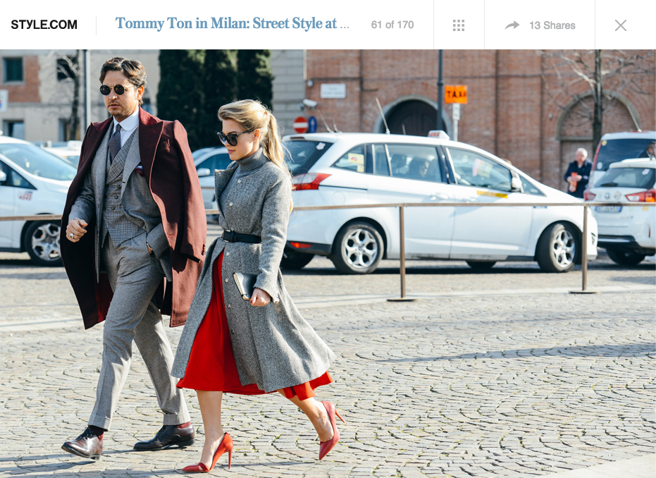 STYLE.COM | JANUARY 2015 http://www.style.com/slideshows/slideshows/street/tommy-ton/2015/fall-2015-menswear-street-style/slides/61