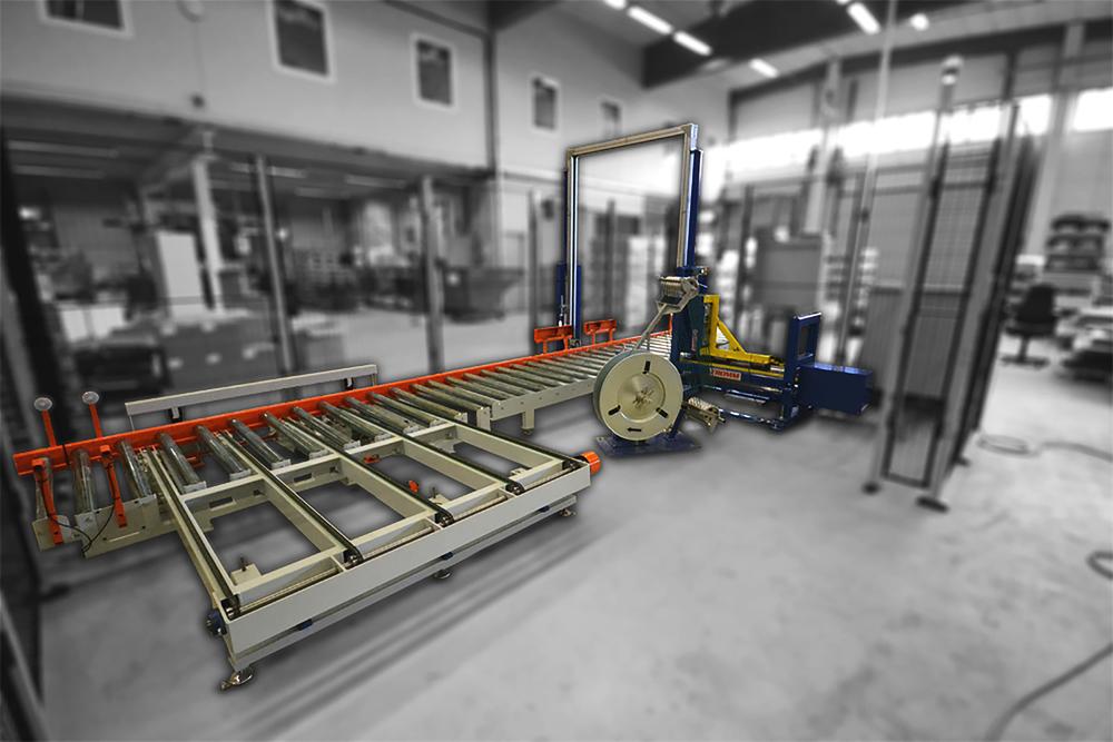 BANDNINGSLINA JRL bygger bandninglinor och rullbanesystem med buffertzoner för att banda material på pall.