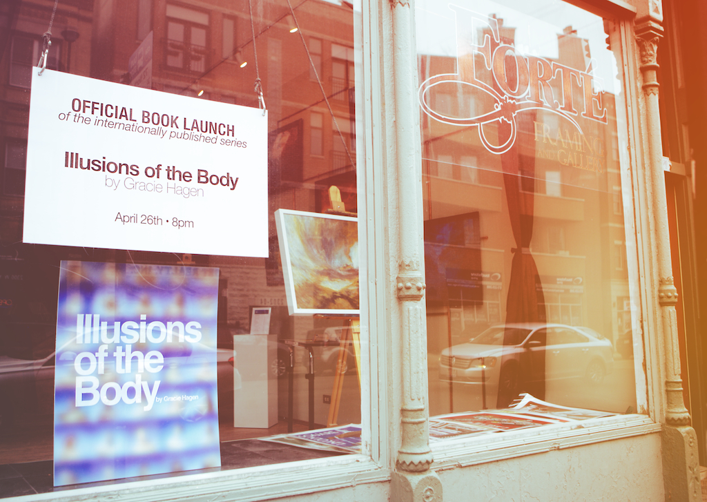 I'm having an official book release party April 26th at 8pm!! (location Forté Framing & Gallery; 2301 W. North Ave, Chicago)  Come pick up your book before it ships May 1st, meet me & get your copy personalized!  For those who won't be able to make the official release party, go to IllusionsoftheBody.com to pick up your pre-order!