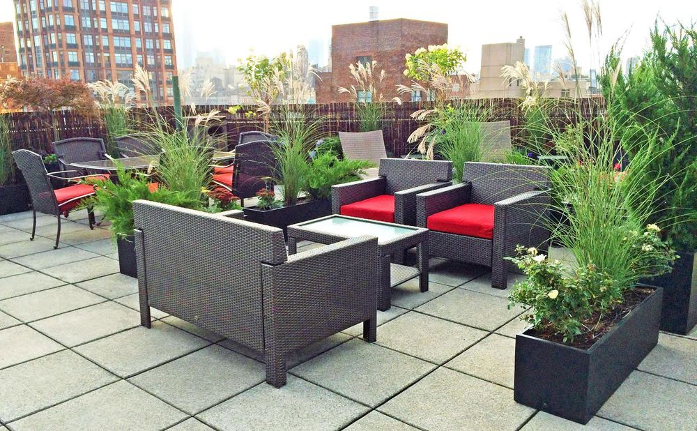 New York Garden Design photo of new york garden design landscape woodside ny united states New York Ny As A Large Roof Deck Space The Clients Goal Was To Divide The Space Creating Individual Outdoor Rooms Planters And Tall Plant Material Were