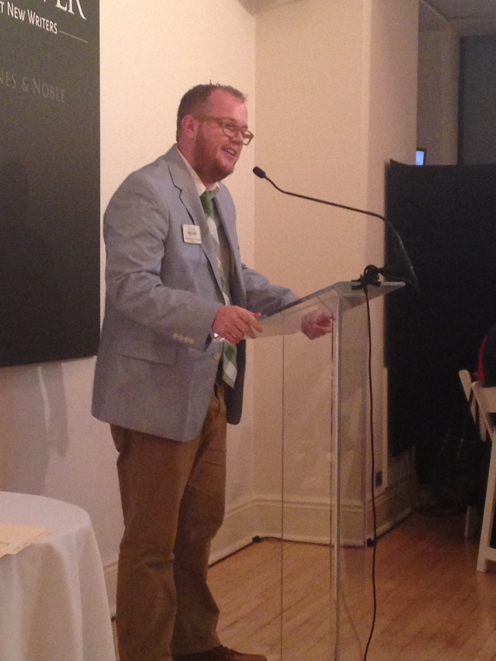 Arna Bontemps Hemenway accepting his third place Discover Great New Writers Award on March 4 in New York