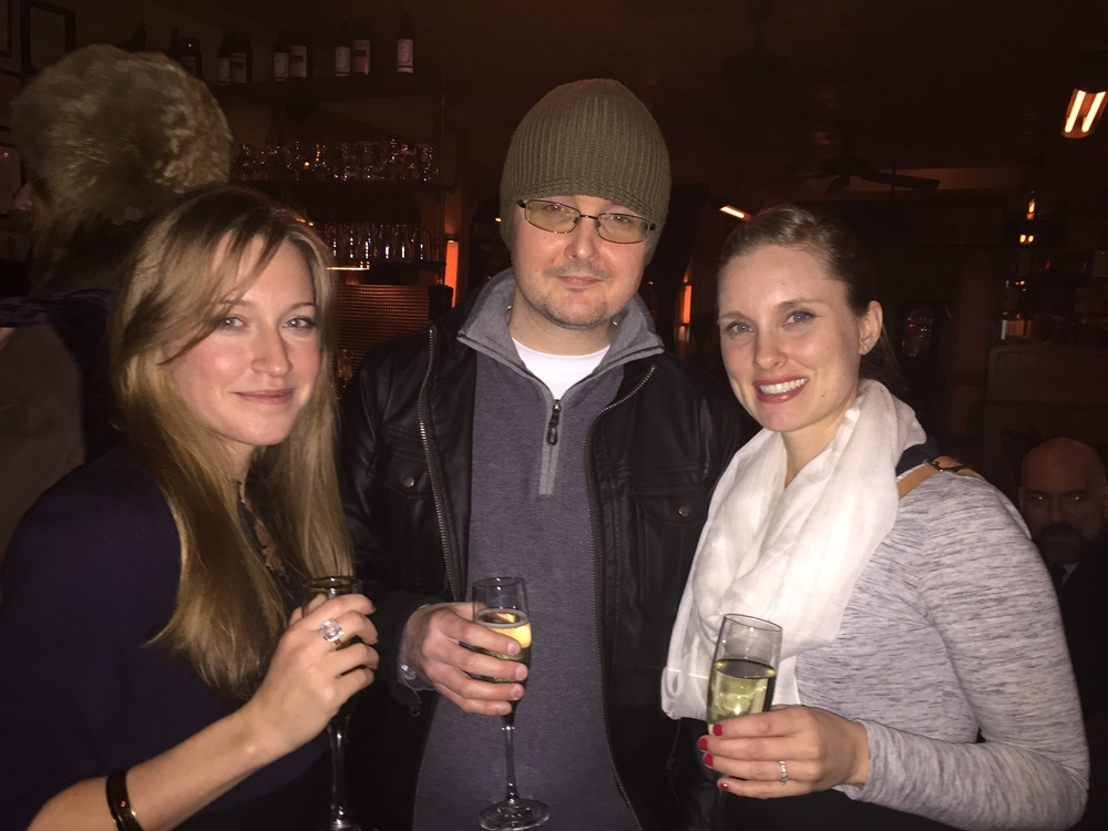 Kyle Minor celebrates with Kristen Radtke and Kristen Miller at the Story Prize after party.