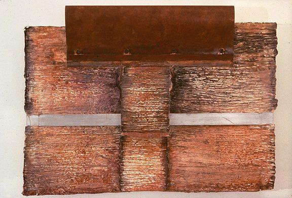 Mending Bridges   42 x 32 x 7 inches. Aluminum, Copper & handmade paper.