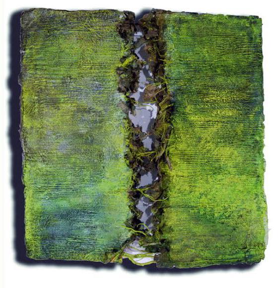 World Beyond the Swamp   45 x 47 x 7 inches. Handmade paper, handmade kozo, steel mesh, aluminum and copper.