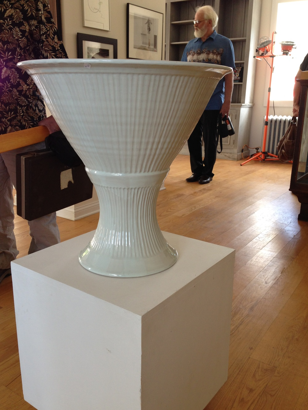"Ellany Gable ""Carved white pedestal bowl"" (stoneware)"