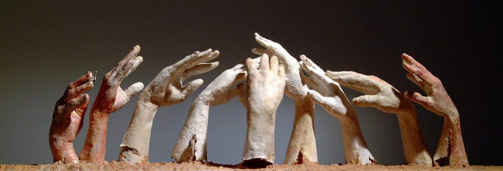 "Joan Giordano, Farmers Hands, cast paper, wax, encaustic, pigment, 55"" x 116"" x 12"""