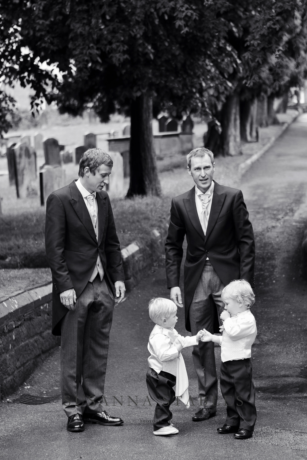 The Brides brothers & two of her nephews waiting for her arrival at the church