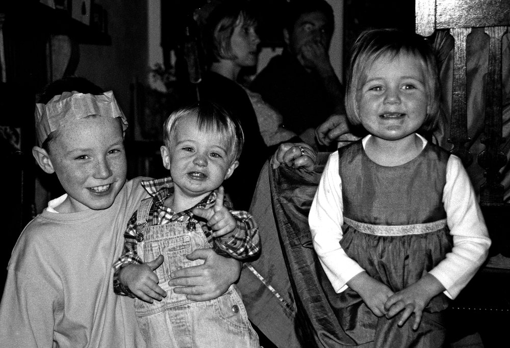 Jack, cousin George and you in one of the dresses I made you.