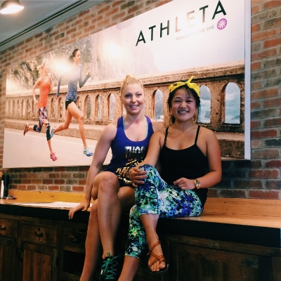 Bethany, left, and Amy, right, had a great time hosting an event at Athleta.