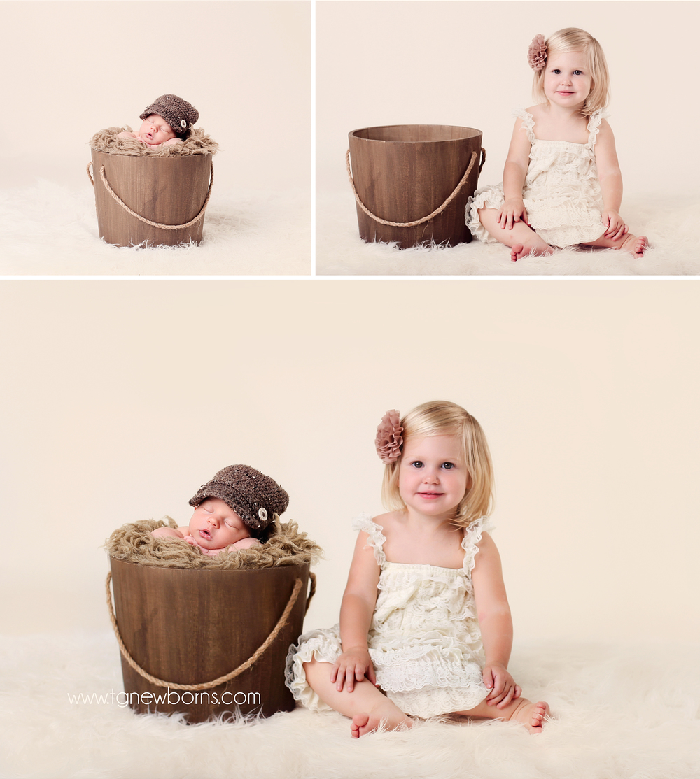Posing newborn with siblings