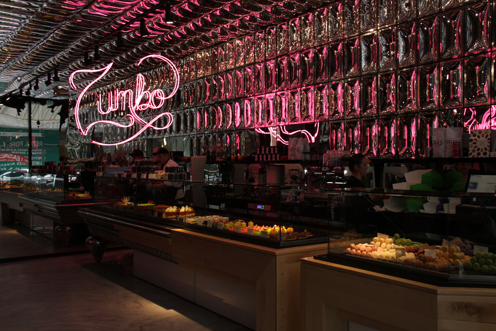 Adriano Zumbo's shiny, happy Melbourne patisserie, illuminated by a pink neon sign in a specially designed typeface