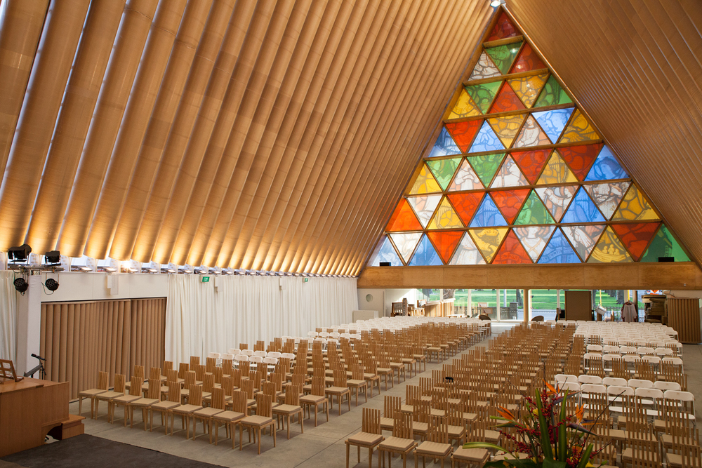 Heavenly: the geometric stained-glass window is an inspired replacement for the original