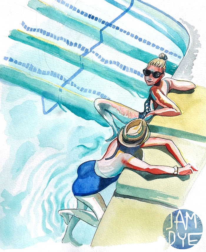 Watercolor of me and my friend Brittney hanging in the pool by Jamaica Dyer. Check out her work she's an amazing artist. See the process of creating this painting here.