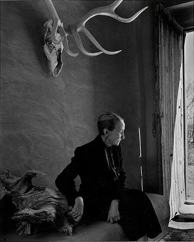 O'Keeffe inside her beloved Ghost Ranch home in Abiquiu, New Mexico, as photographed by Karsh, 1957.