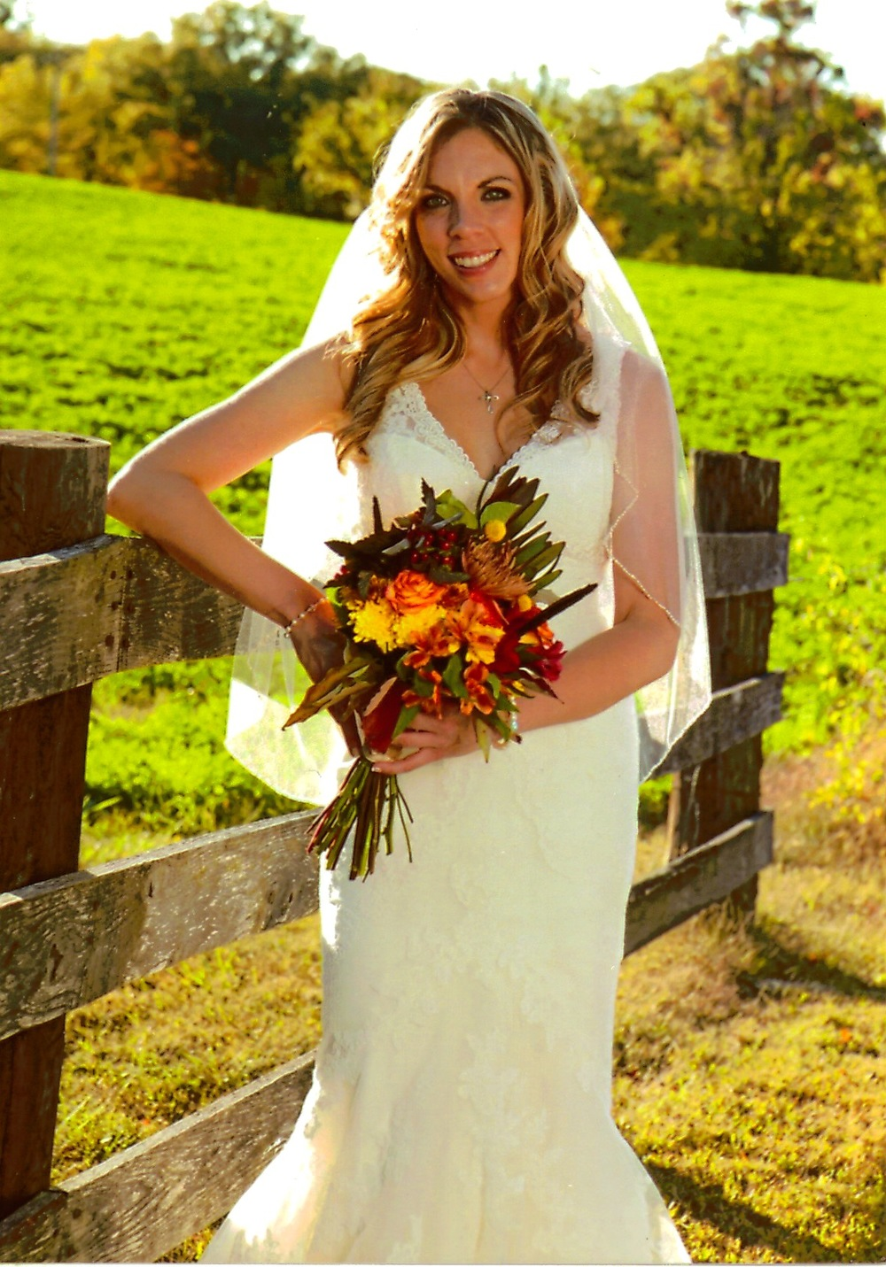 New bride, Janell Embry, at the Yellow Farmhouse Winery.