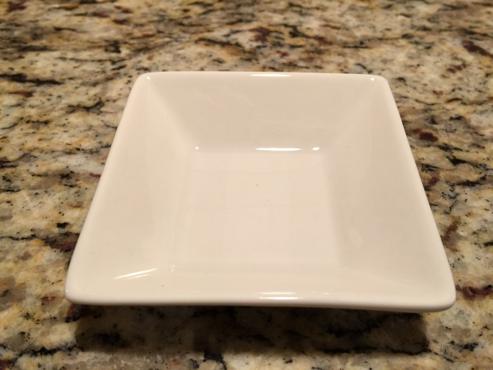 White rectangular tasting bowl In Stock: 65 Price: $ 1.50