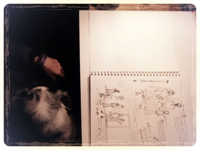 Inking page with lap puppy. So tiny. So cute. My wrist.