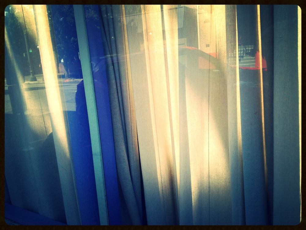 casted sunlight, drapes, bright paint