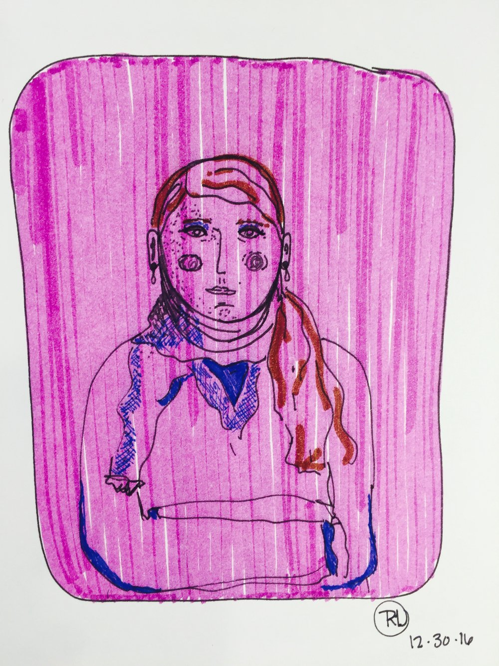 flight attendant - using my daughter's Crayola markers + Stabilo pt 88 pen